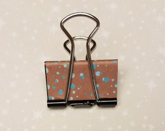 Set of 6, Blue and Brown Paint Splatters, Binder Clips