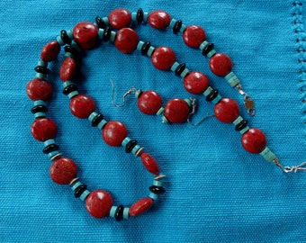 25 Inch Southwestern Red Sponge Coral, Turquoise, and Black Onyx Necklace with Earrings