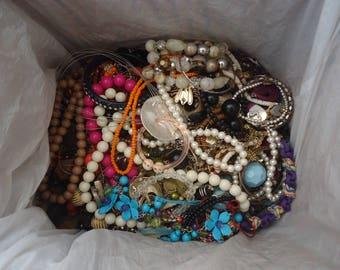 HUGE Lot of Mostly Broken Jewelry and Components for Repurpose, Jewelry Design, Altered Art Projects, Repair, 11 Lb 3 Oz