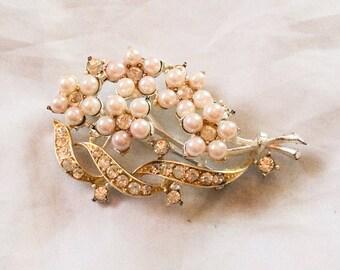 Pearl Rhinestone Brooch Designed by Lisner, Vintage Jewelry SPRING SALE