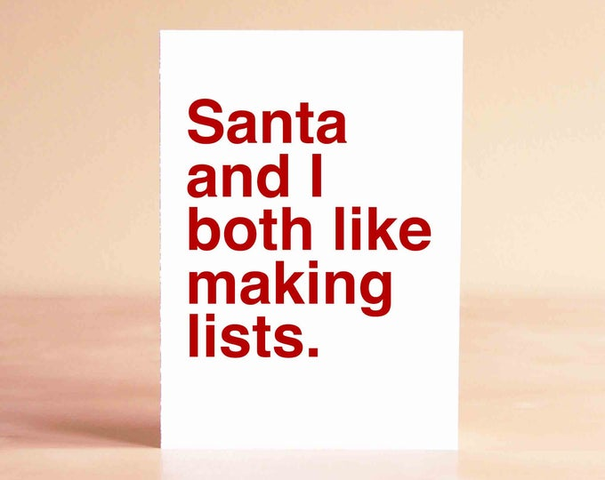 Funny Christmas Card - Unique Christmas Card - Funny Holiday Card - Santa and I both like making lists.