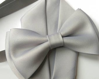 Silver Grey Men Boys Toddler  bow tie with pocket square set