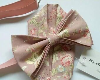 Adult / Kids Light Rose / Dusky Pink vintage chic retro flower print bow ties