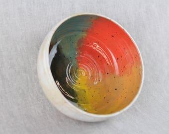 Rainbow ceramic bowl, handmade stoneware pottery, pet bowl (white matte, scalloped edge A)