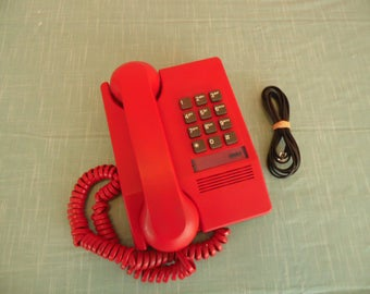 Vintage Red Telephone - Push Button Phone - GTE - Made In Canada - 1980s Office
