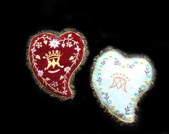 MercurysMoon- Two Vintage Hand Sewn & Embroidered Heart Ex Votos w Metallic Fringe