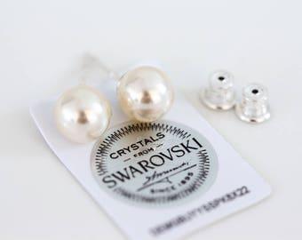 843_ Stud pearls earrings, Bridesmaid gift SWAROVSKI cream pearl stud earrings, Sterling silver 925 earrings, Bridesmaid gift earrings.