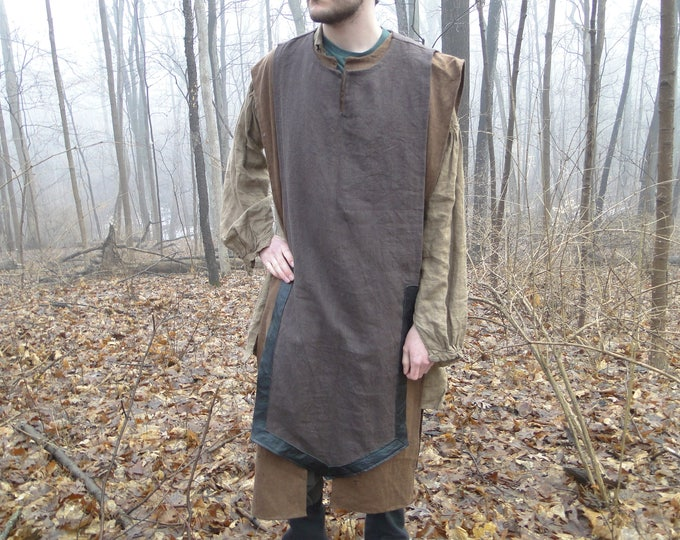 Ranger Linen Tabard W/ Leather Trim, Sleeveless Mens - Choose Size & Color