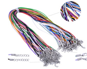 100pcs Mix-colors 2mm Satin Silk Necklace Cord with Clasp Lobster 18'' adjustable length