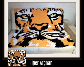 Tiger Afghan C2C Crochet Graph and Written Word Chart