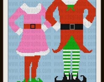 Elf Couple Afghan, Crochet Pattern, Elf Couple C2C Graph, Elf Couple Graphghan