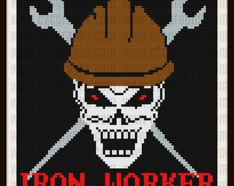 Iron Worker C2C Graph, Iron Worker, Iron Worker Afghan, Iron Worker Crochet Pattern in colors