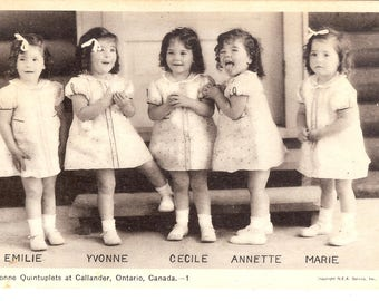 Vintage Postcard....Canada, Ontario, The Dionne Quintuplets at Callander...Used...no. CAN0035