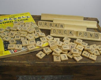 1953 Scrabble Book Guide and 98 Wooden Letter Tiles and 4 Wooden Tile Holders