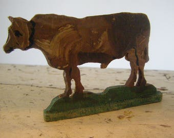 Primitive Hand Constructed and Painted Bull by the Children in a German Orphanage circa 1918-1945. Primitive German Art. Farmhouse decor.