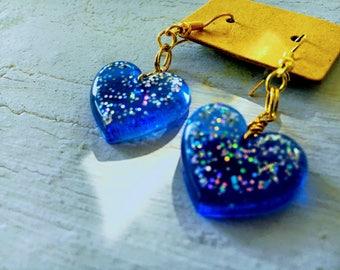 Sparkling Blue Resin Heart Earrings
