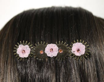 Pink Floral Steampunk Hair Comb