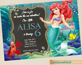 Ariel Little Mermaid Invitation - Mermaid Invite - Little Mermaid Invite - Birthday Party Ideas Printable