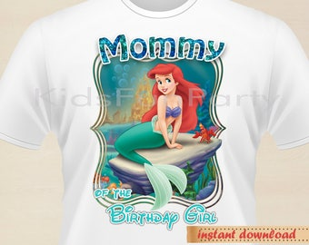 Disney Little Mermaid MOMMY of the Birthday Girl - INSTANT DOWNLOAD -  Birthday Girl - Little Mermaid Party Favors