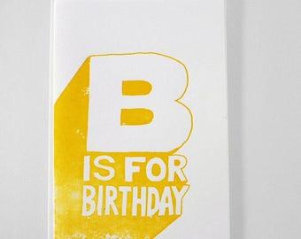 Birthday card - Letterpress  on 100% cotton