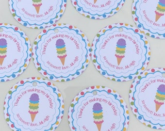 ICE CREAM PARTY Happy Birthday or Baby Shower Party Favor Tags/Sticker - 1 dozen {12} - Party Packs Available
