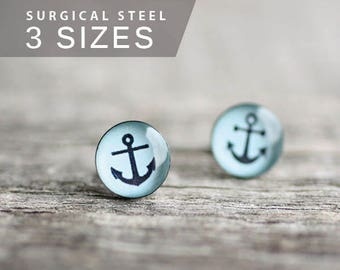 Anchor post earrings, Surgical steel studs, Nautical earring studs, Sailor light blue earrings, mens earrings, earrings for men