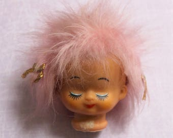 Vintage 1960s DOLL HEAD with PINK Fuzzy Hair - Kitschy Cool