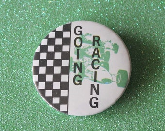 """Vintage Pinback Button - """"GOING RACING"""" 1980s Badge A Minit Pin"""