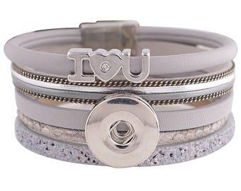 "1 Gray Leather Bracelet - 6.75"" FITS 18MM Candy Snap Charm Jewelry Silver KC0036 CJ0814"