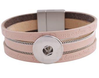 "1 Pink Leather Bracelet - 6.75"" FITS 18MM Candy Snap Charm Jewelry Silver KC0039 CJ0817"