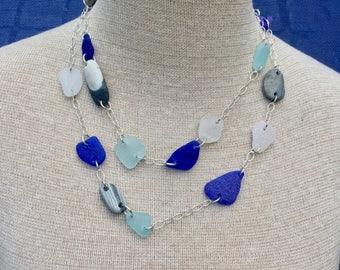Sea glass jewelry-Beach stones and sea glass necklace