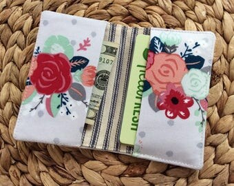 Thin Floral Credit Card Holder - Small Cute Wallet - Minimalistic Travel Wallet - Businss Card Case