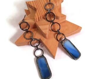 Blue Dangle Earrings Stained Glass Earrings Unique Earrings Handmade Jewelry Long Chain Earrings Blue Glass Danglers Soldered Jewelry Glass