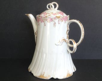 """Haviland Limoges Coffee Chocolate Pot Pink Flowers France Ch Field 8 1/4"""" to Top of Bow Handle"""