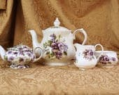 Violets Teapots, creamer, and sugar bowl- Vintage China- Windsor England- Allyn Nelson England- Bone China- Violet Collection- Various