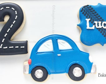 Car Themed Birthday Cookies, Number Cookies,  Tire Track Cookies, Boys Birthday Cookies, Cars Birthday Party, Custom Decorated Cookies