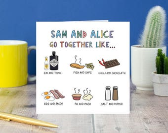We go together like...  Foodies Card - Custom Wedding Card - Bespoke Anniversary Card, Wedding Couples Card - Funny Valentine's Day Card