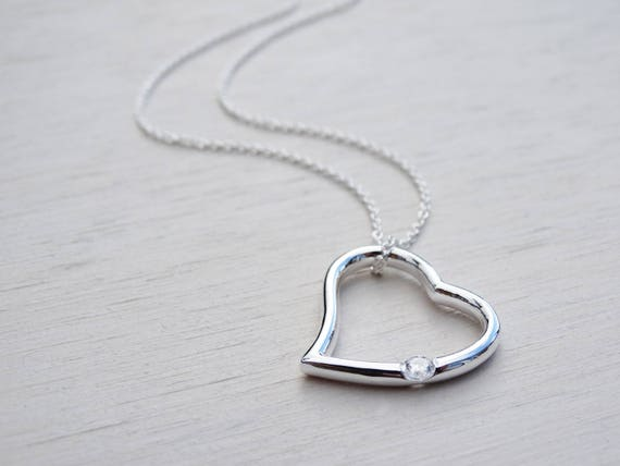 Silver Heart Necklace With Cubic Zirconia Solitaire, Sterling Silver