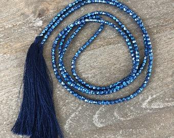 Blue Lariat Necklace