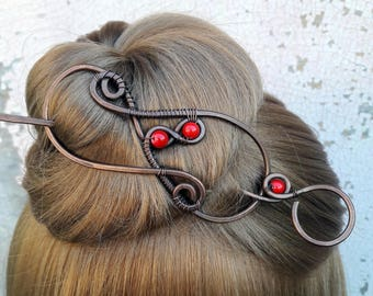 Large Red Hair Barrette Copper Hair Slide Hair Pin Hand Forged Red Coral Hair clasp  Wire Wrapped Wire Work Handmade Bun pin Bun Holder