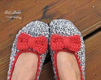 Crochet Women Slippers - Gray with Red Bow, Accessories, Adult Crochet Slippers,  Home Shoes, Crochet  Women Slippers