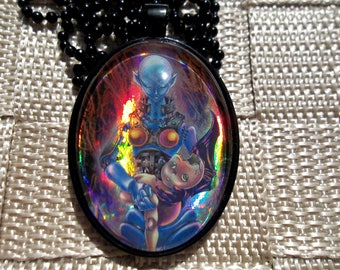 Dark Necrofear HOLO Pendant Charm made from Trading Cards
