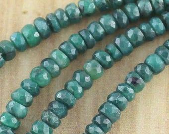 20 pieces of 4mm emerald rondelle gemstone beads - wholesale destashing gems final sale