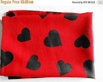 SUMMER SALE - German Vintage Red Sytnethic Fabric with Printed Black Hearts Restpiece for sewing / Sewing supply yardage from the 80s