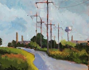 ORIGINAL Oil Painting-Plein Air-Urban Landscape-Modern art-Contemporary art-Interior decor-Impressionist-Affordable wall art-Office decor.