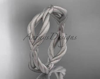 14k white gold rope wedding band RP898G