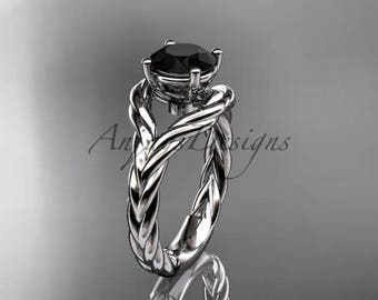 14k white gold Black Diamond twisted rope engagement ring RP8125
