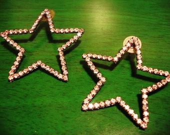 RESERVED Angie Vintage 1970s Texas Proud Rhinestone Star Earrings
