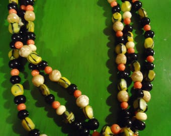 Vintage 1960 Multi Colored Three Strand Necklace