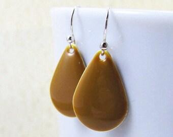 40% OFF Dangle Drop Earrings - Caramel Brown Epoxy Enamel Teardrops - Sterling Silver Plated over Brass (F-5)